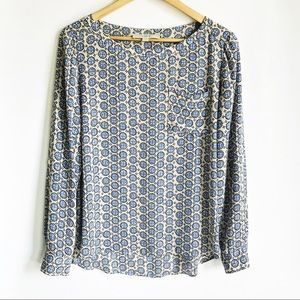 LOFT Cream/Blue Pattern Print Blouse
